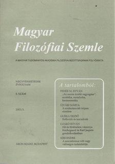 Steiger Kornél - Magyar Filozófiai Szemle 2003/3. [antikvár]
