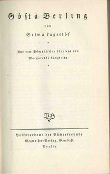 Selma Lagerlöf - Gősta Berling (német) [antikvár]