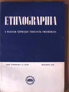B. J. - Ethnographia 1952/1-2. szám [antikvár]