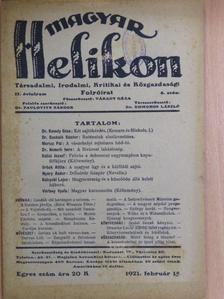 Báró Wlassics Tibor - Magyar Helikon 1921. február 15. [antikvár]