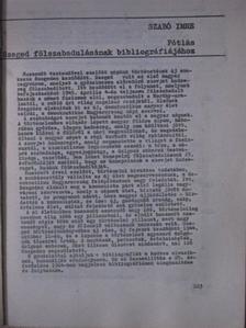 Szabó Imre - Pótlás Szeged fölszabadulásának bibliográfiájához [antikvár]