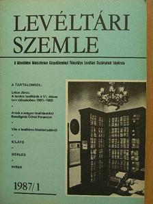 Balázs Péter - Levéltári Szemle 1987/1. [antikvár]