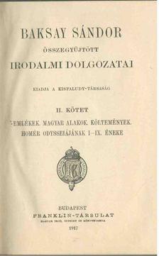 BAKSAY SÁNDOR - Baksay Sándor összegyűjtött irodalmi dolgozatai II. [antikvár]