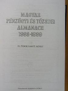 Dr. Asztalos László György - Magyar pénzügyi és tőzsdei almanach 1998-1999 III. [antikvár]