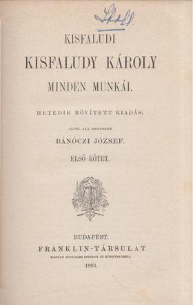 KISFALUDY KÁROLY - Kisfaludy Károly minden munkái I. [antikvár]
