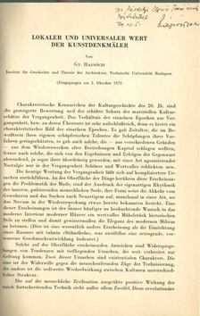 Hajnóczi Gyula - Lokaler und Universaler Wert der Kunstdenkmäler [antikvár]