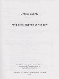 Györffy György - King Saint Stephen of Hungary [antikvár]