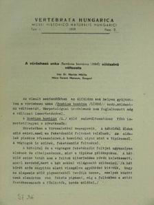 Dr. Marián Miklós - A vöröshasú unka (Bombina bombina Linné) zöldszinű változata [antikvár]