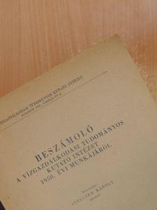 Haszpra Ottó - Beszámoló a Vízgazdálkodási Tudományos Kutató Intézet 1958. évi munkájáról [antikvár]